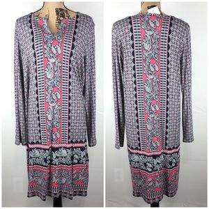 J. Jill NWT Paisley Tunic Long Sleeve Dress V-Neck